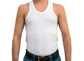 Man in white undershirt Royalty Free Stock Photo