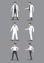 Man in White Uniform Occupation Vector Icon Set Royalty Free Stock Photo