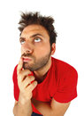 Man who thinks with red t shirt on white background Royalty Free Stock Photos