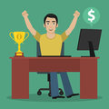 Man winner sits at table illustration format eps Stock Photography