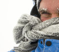Man in winter storm young with frozen eyebrows Stock Photos