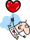 Man wit valentine hearth balloon cartoon Royalty Free Stock Photo