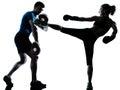 Man woman boxing training Royalty Free Stock Photo