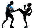 Man woman boxing training one caucasian couple men women personal trainer coach men women silhouette studio isolated on white Stock Photos