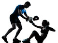 Man woman boxing training one caucasian couple men women personal trainer coach men women silhouette studio isolated on white Stock Image