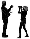 Man and woman with cameras illustration photographer silhouettes isolated on white background Stock Images