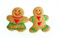 Man and Woman Christmas Gingerbread Cookies Isolated on White Royalty Free Stock Photo