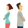 Man and woman conflict businessman turning their back to each other businesss concept in angry arguing breakdown or divorce Royalty Free Stock Image