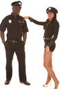 Man and woman cop she flirting women is with Stock Photos