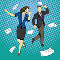 Man and woman dancing with paper documents flying around. Royalty Free Stock Photo