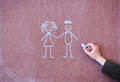 Man and woman drawn in chalk on blackboard Stock Images