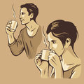 Man And Woman Drinking Coffee....