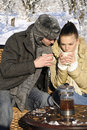 Man and woman drinking in nature Royalty Free Stock Photos