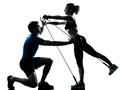 Man woman exercising gymstick workout fitness Royalty Free Stock Photos