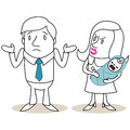 Man and woman fatherhood discussion vector illustration of monochrome cartoon characters doubtful looking angry looking with Royalty Free Stock Image