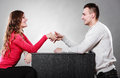 Man and woman first date. Handshake greeting. Royalty Free Stock Photo