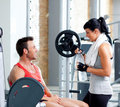 Man and woman friends on sport gym relaxed Royalty Free Stock Photos