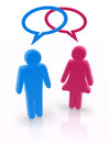 Man woman gender symbols speech bubbles render of Stock Photos