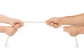 Man and woman hands with breaking rope Royalty Free Stock Photo