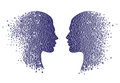 Man and woman head icons. Abstract couple face  with gradient circles Royalty Free Stock Photo