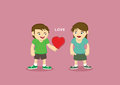 Man and woman with heart shape between them vector cartoon characters of a giving a gift of his to a confess his love Royalty Free Stock Photo