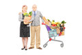 Man and woman holding a bag and shopping cart full of groceries length portrait men women paper isolated on white background Stock Photos