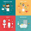 Man and woman hygiene icons vector set  on background Royalty Free Stock Photo