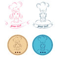 Man and woman icon chef  illustration eps 10 Royalty Free Stock Photo