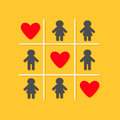 Man Woman icon Tic tac toe game. Three red big heart sign Yellow background Flat design
