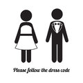 Man and Woman Icons. Black Tie Dress Code Icon Royalty Free Stock Photo