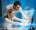 Man and woman in laboratory picture of men women space Stock Photos