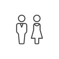 Man and woman line icon, outline vector sign, linear pictogram isolated on white Royalty Free Stock Photo