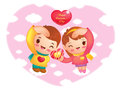 Man and  Woman the Love is gesture. Valentine Character Design S Stock Photography