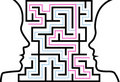Man woman outline profiles face a puzzle in maze Royalty Free Stock Image
