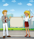 A man and a woman at the pedestrian lane holding an empty signbo illustration of signboard Royalty Free Stock Photography