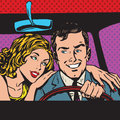 Man and woman pop art comics retro style halftone in the car family imitation of old illustrations imitation vintage illustrations Stock Image