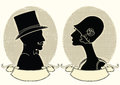 Man and woman portraits vector vintage image illustration Royalty Free Stock Photography