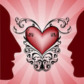 Man and woman profiles on red heart on background. Royalty Free Stock Image