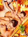 Man and woman relaxing in spa. Stock Photography