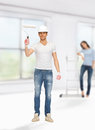 Man and woman renovating their home bright picture of young men women Royalty Free Stock Photography