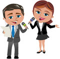 Man and woman reporters at work illustration featuring bob meg working as reporter isolated on white background you can find other Royalty Free Stock Photo