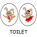 Man and woman restroom signs funny cartoon hares vector art illustration on a white background Royalty Free Stock Image