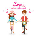 Man And Woman Riding Bicycle, Clasping Hands, Love Is All Around
