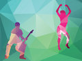 Man and woman on rock party illustration in polygonal style Royalty Free Stock Photo