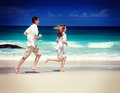 Man and woman romantic couple women on tropical beach Stock Photography