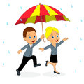 Man and woman running under umbrella Royalty Free Stock Photo