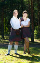 Man and woman in scottish costume Stock Photo