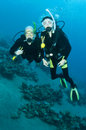Man and woman scuba dive togeather Royalty Free Stock Image