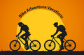 Man and Woman Silhouettes Bikers at Sunset Royalty Free Stock Photo