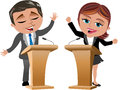 Man and woman speakers illustration featuring cartoon business meg business bob involved as from speaker stands with microphone in Royalty Free Stock Image